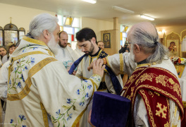 Cambridge, Ontario, Canada. 2 May 2015. Archbishop Gabriel appoints new sub-deacon at the church of Saint Patriarch Tikhon Confessor and New Martyrs of Russia, during sunday's Divine Liturgy. Fr. Eugene (Schukin) is the dean of the church. His Grace, the Right Reverend Gabriel (Chemodakov) is the ROCOR bishop of Montreal and Canada from May 2008. © Igor Ilyutkin