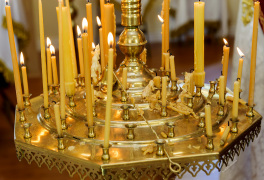 Cambridge, Ontario, Canada. 2 May 2015. Candlestick with burning candles. © Igor Ilyutkin