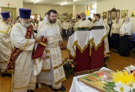 Cambridge, Ontario, Canada. 2 May 2015. Deacon brings priest before archbishop for awarding, during Divine Liturgy at the church of Saint Patriarch Tikhon Confessor and New Martyrs of Russia. © Igor Ilyutkin