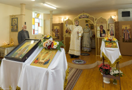 "Cambridge, Ontario, Canada. 2 May 2015. Deacon Alexander (Morin) leads ""Our Father"" prayer said by everyone willing, during orthodox Divine Liturgy at the church of Saint Patriarch Tikhon Confessor and New Martyrs of Russia. © Igor Ilyutkin"